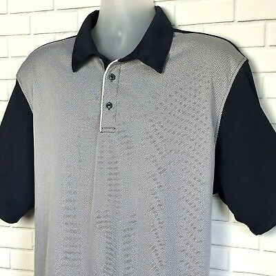 HAGGAR Cool 18 Performance Men's Golf Polo Shirt Navy White Two Toned Size XL