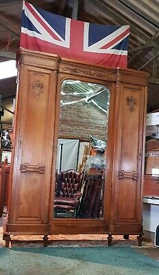 Magnificent Antique Triple French Carved Wood Armoire, With 1 Mirrored Door