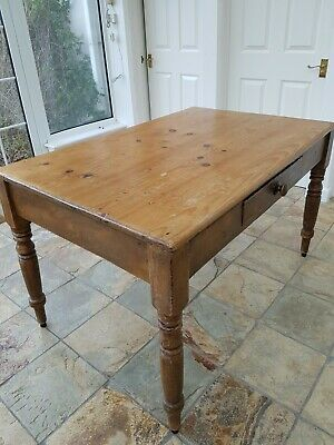Antique Solid Pine Farmhouse Table with Front Drawer