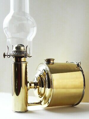 Rare Antique Victorian Oil Kerosene Lamp Wall Mounted Plume & Atwood P&A Brass