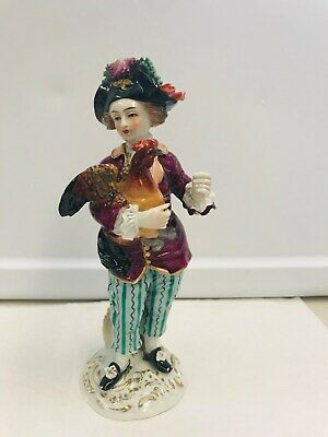 "Antique RARE Capodimonte Germany Figurine man with rooster 8.5"" Crown N mark"