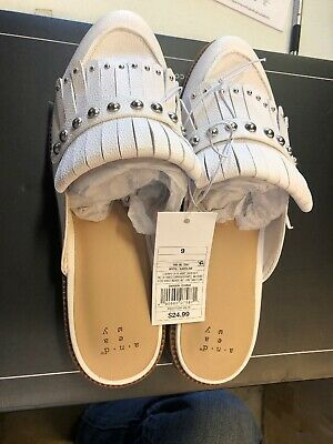 Women's White Karoline Studded Fringe Backless Loafer Mules A New Day US Size 9