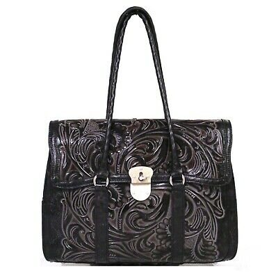 PATRICIA NASH Vienna SATCHEL Black Tuscan LEATHER Purse Tooled Turquoise NWT 269