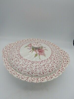 JOHNSON BROTHERS Rose Bouquet Pattern Covered Vegetable EUC