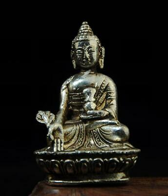 chinese old handmade cooper-plating silver buddha sculpture statue