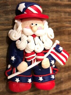 Proud Patriotic Handmade Clay Pin Ol' Man Beard July 4th Independence Day Flag