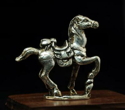 chinese old handmade cooper-plating silver horse&fly sculpture statue