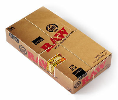 1 box x RAW CLASSIC Natural UNREFINED rolling paper size 1 1/4 - 24 packs
