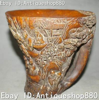 Collect Chinese Ox Horn Carving Old Man Pine Tree House Cup Wineglass Winecup