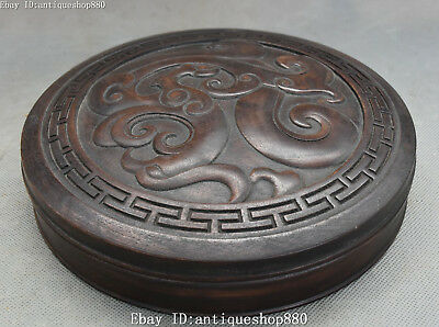 """9"""" China Huanghuali Wood Carving Dragon Loong Storage Case Jewellery Jewel Box"""