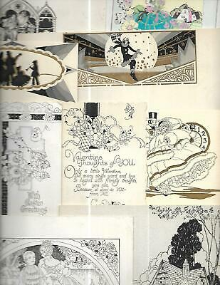 Extremely RARE Lot/Collection of 24 Vintage Art Deco Greeting Card PROTOTYPES