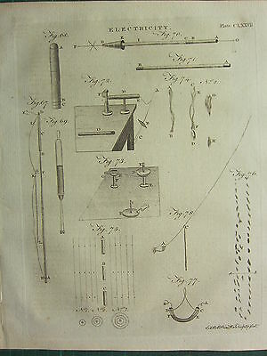 1797 Georgian Print ~ Electricity ~ Various Diagrams Equipment