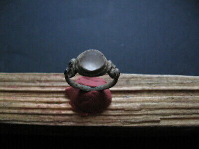 ANCIENT CELTIC BRONZE FINGER RING WITH WHITE AND BLUE GLASS STONE 1-2 ct. AD