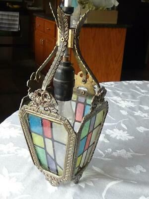 Antique Stained Glass Look Victorian Hanging Pendant Hall Light One Of A Kind