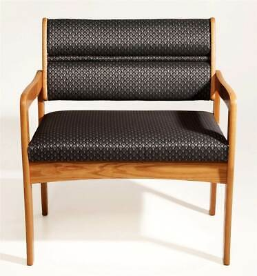 Extra Wide Solid Oak Guest Chair in Medium Finish w Upholstered  [ID 374580]