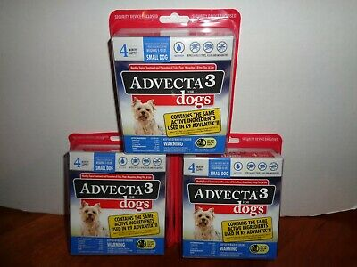 Advecta 3 Small Dog Flea Tick Treatment 5-10 Lbs 3-4 Count Boxes 12 Month Supply