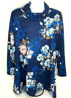 MOA USA Womens XL Shirt Dress Tunic Turtleneck Long Sleeve Floral Blue NWT