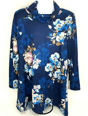 MOA USA Womens 2XL Shirt Dress Tunic Turtleneck Long Sleeve Floral Blue NWT
