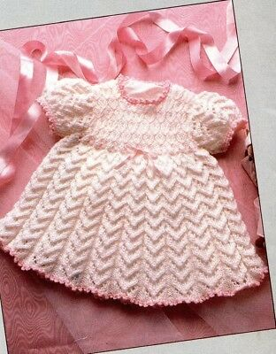 Baby Toddler Knitting Pattern copy Gorgeous patterned DRESS 8 ply