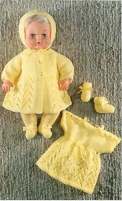 Vintage Baby Dolls Clothes Knitting Pattern Copy  8 ply