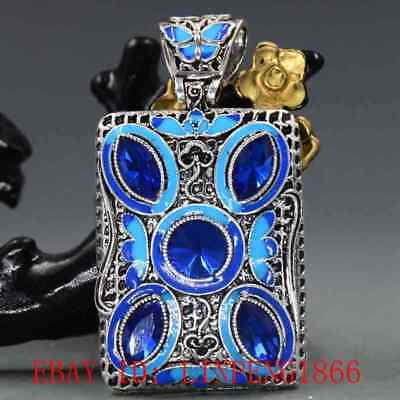 Chinese Handmade Copper Cloisonne Inlaid Zircon  Pendant L02