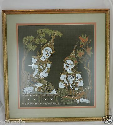 Thai East Wall What Pho Temple Rubbing Art Hanging Vintage Framed