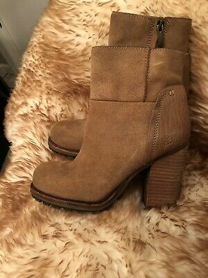 2fc4bd8b2ad6 Womens 5- 5.5 SAM EDELMAN Farrell Brown Suede Zip High Heel Ankle Boots Rt   80