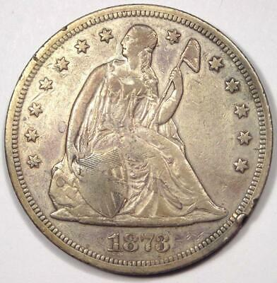 1873 Seated Liberty Silver Dollar $1 - VF Details - Rare Early Type Coin!