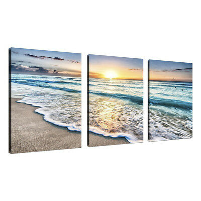 3 Panel Beach Canvas Wall Art Sunset Sand Ocean Sea Wave Home Picture Decor