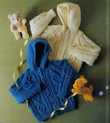 Baby Knitting Pattern Copy Aran Cable Jacket And Waistcoat 8 Ply Dk