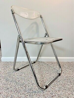 1 Vintage Mid Century Modern Italian Chrome and Lucite Folding Chair