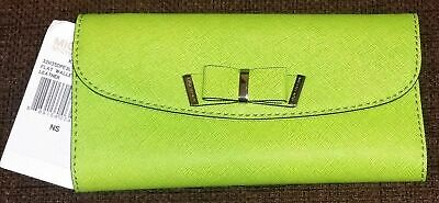 62e94f2b9029 Michael Kors Kiera Pear Lime Green Saffiano Leather Large Flap Flat Wallet* Nwt*