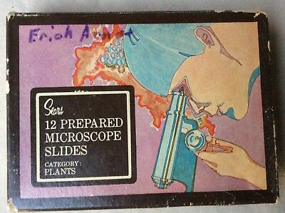 Vintage Sears Prepared Microscope Slides Box of 12 Category: Plants Science