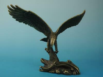 Antique china hand made copper eagle statue old collect