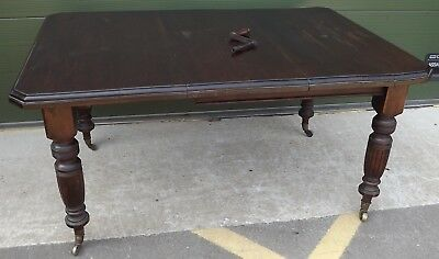 Antique Victorian Mahogany Extending Wind-Out Dining Tablle One Leaf - Needs TLC