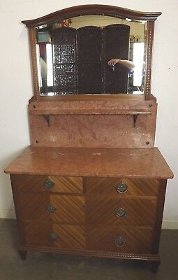 Antique Continental Marble-Topped Wash-Stand Dressing Chest Birch Walnut Veneers