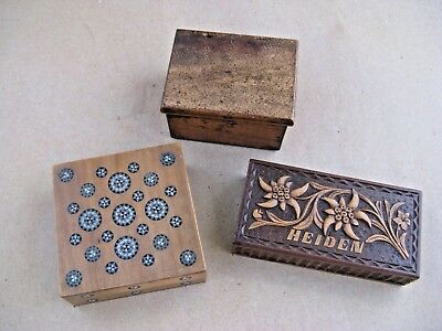 Wooden antique postage stamp boxes x 3