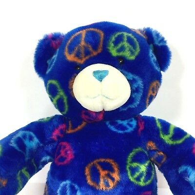 "Build a Bear Workshop Royal Blue PEACE BEAR 13/"" Plush Stuffed Animal Toy BABW"