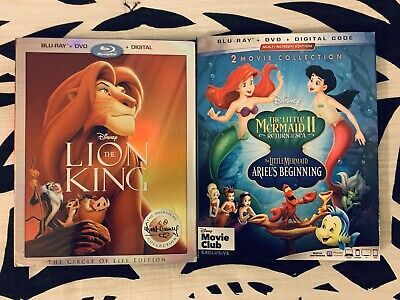 The Lion King AND Little Mermaid 2 & 3 Blu Ray DVD With Slipcovers - Disney NEW