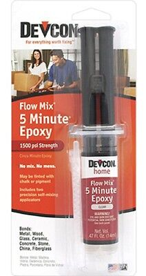Devcon Home 5 Minute Flow-Mix, 14 ML, Clear Syringe Fast Drying Epoxy 20445