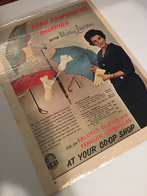 Vintage, original 1960's advert: Co-op shop, umbrella, gloves - Woman's Own Mag