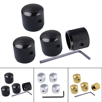 Black Knobs Guitar Metal Dome 4Pcs Volume Tone Control Bass Tool Replaces New