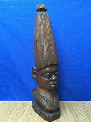 Vintage African, Hand Carved Heavy Dark Wood, 12''' Tribal Head Sculpture c.1930