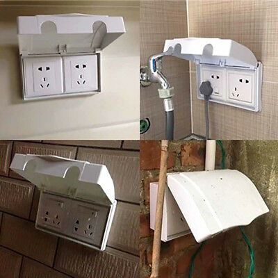 White Double Socket Protector Plug Cover Baby Child Safety Box Elecric #AM8