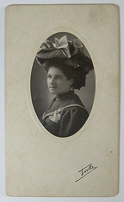 Beautiful Photo of a Victorian Woman Wearing Hat with Bows by F J Tooke MA