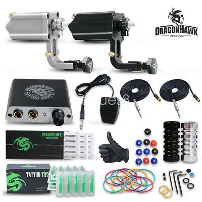 Dragonhawk 2 pc Extreme Rotary Tattoo Machine Tattoo Set Kit Power Supply V