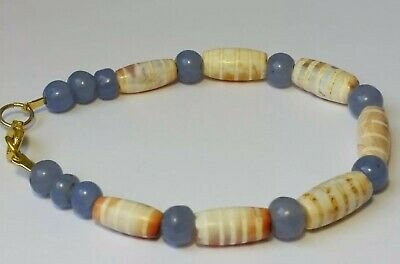 A Nice Bracelet Of Ancient Blue Chalcedony Agate And Etched Carnelian Beads