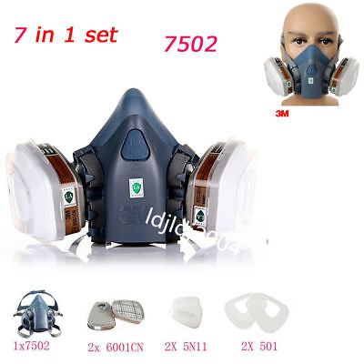 3M 7502 Suit Spray Paint Dust Mask 7 in1 Vapour Particulate Reusable Respirator
