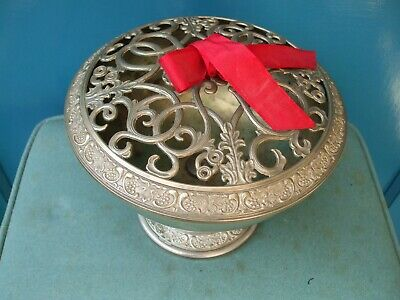 Silver Plate And Cast Alloy Rose/potpourri Bowl