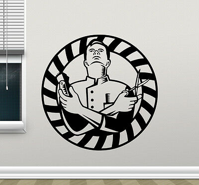 Barber Wall Decal Barbershop Vinyl Sticker Hair Salon Shop Art Decor Mural 1bar